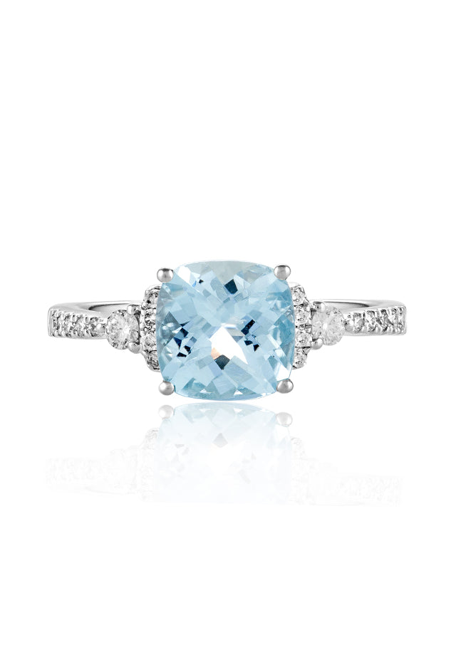 Effy Aquarius 14K White Gold Aquamarine and Diamond Ring, 2.15 TCW
