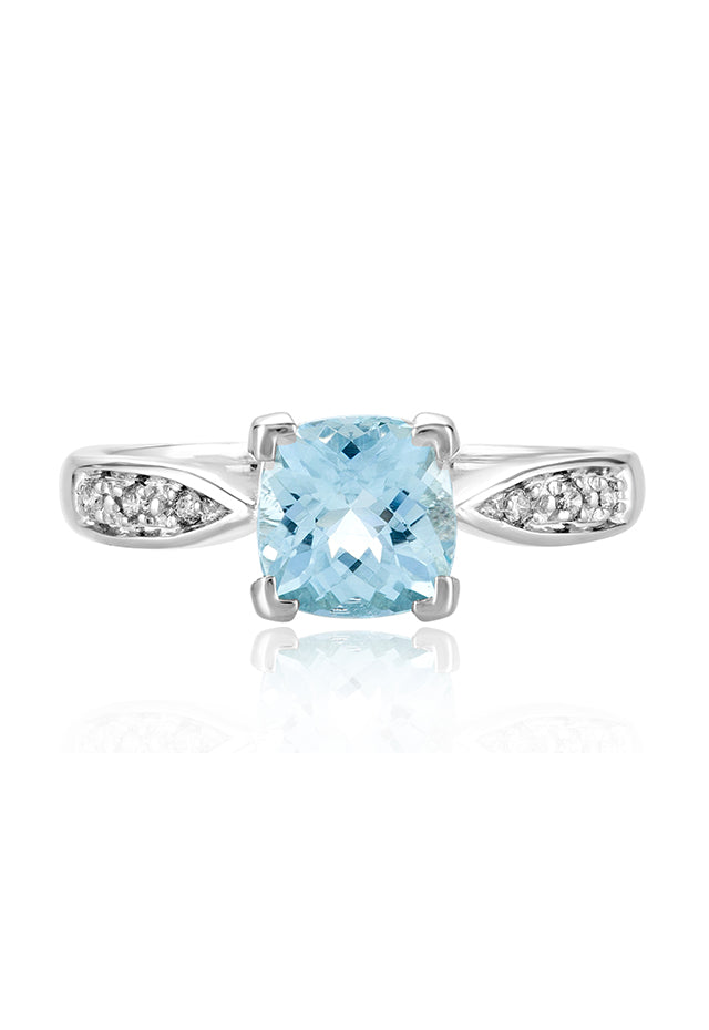 Effy Aquarius 14K White Gold Aquamarine and Diamond Ring, 1.35 TCW