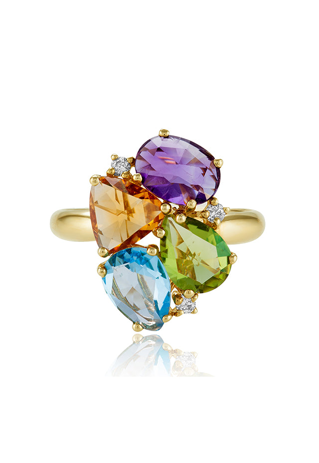 Effy Mosaic 14K Yellow Gold Multi Gemstone and Diamond Ring, 4.02 TCW