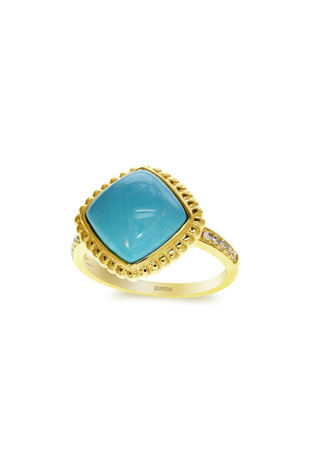 Effy Gemma 14K Yellow Gold Turquoise and Diamond Ring, 4.45 TCW