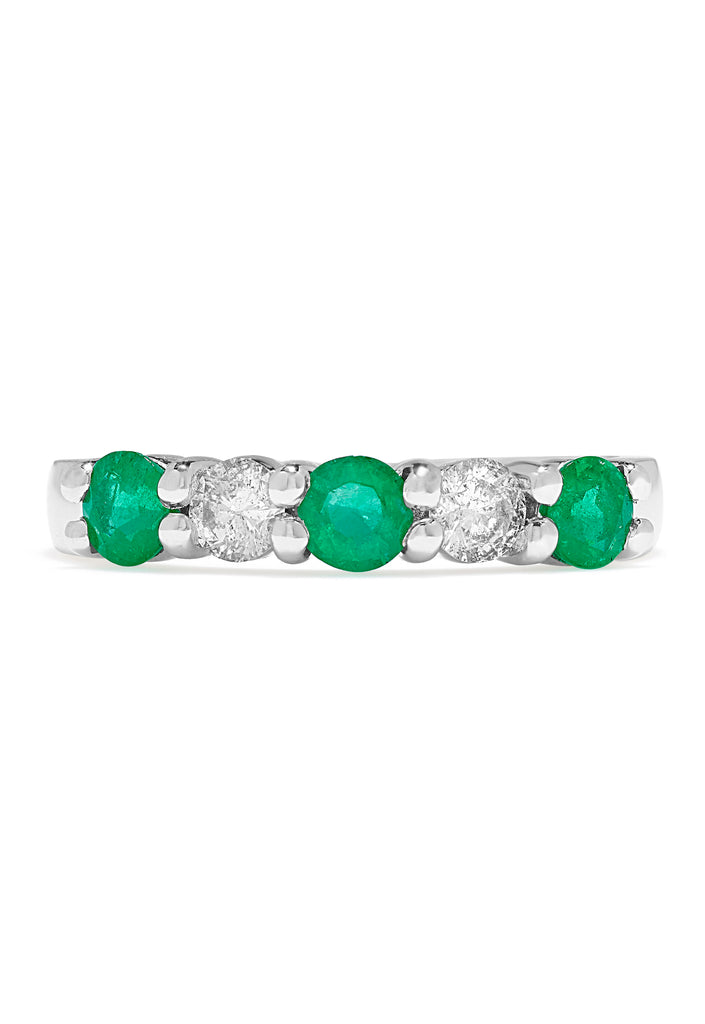 Effy Brasilica 14K White Gold Emerald and Diamond Ring, 0.95 TCW