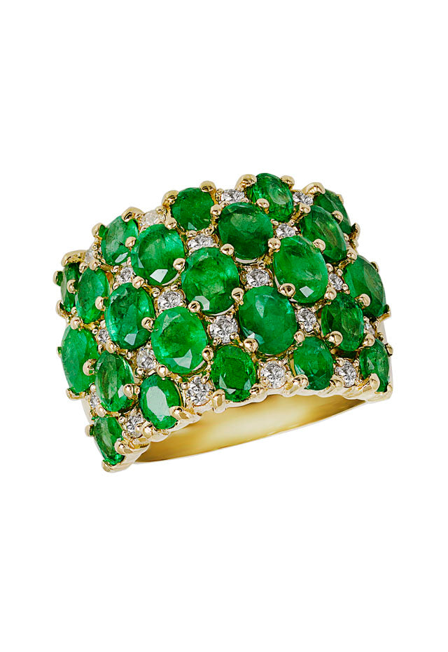 Gemma Yellow Gold Emerald & Diamond Ring, 6.30 TCW