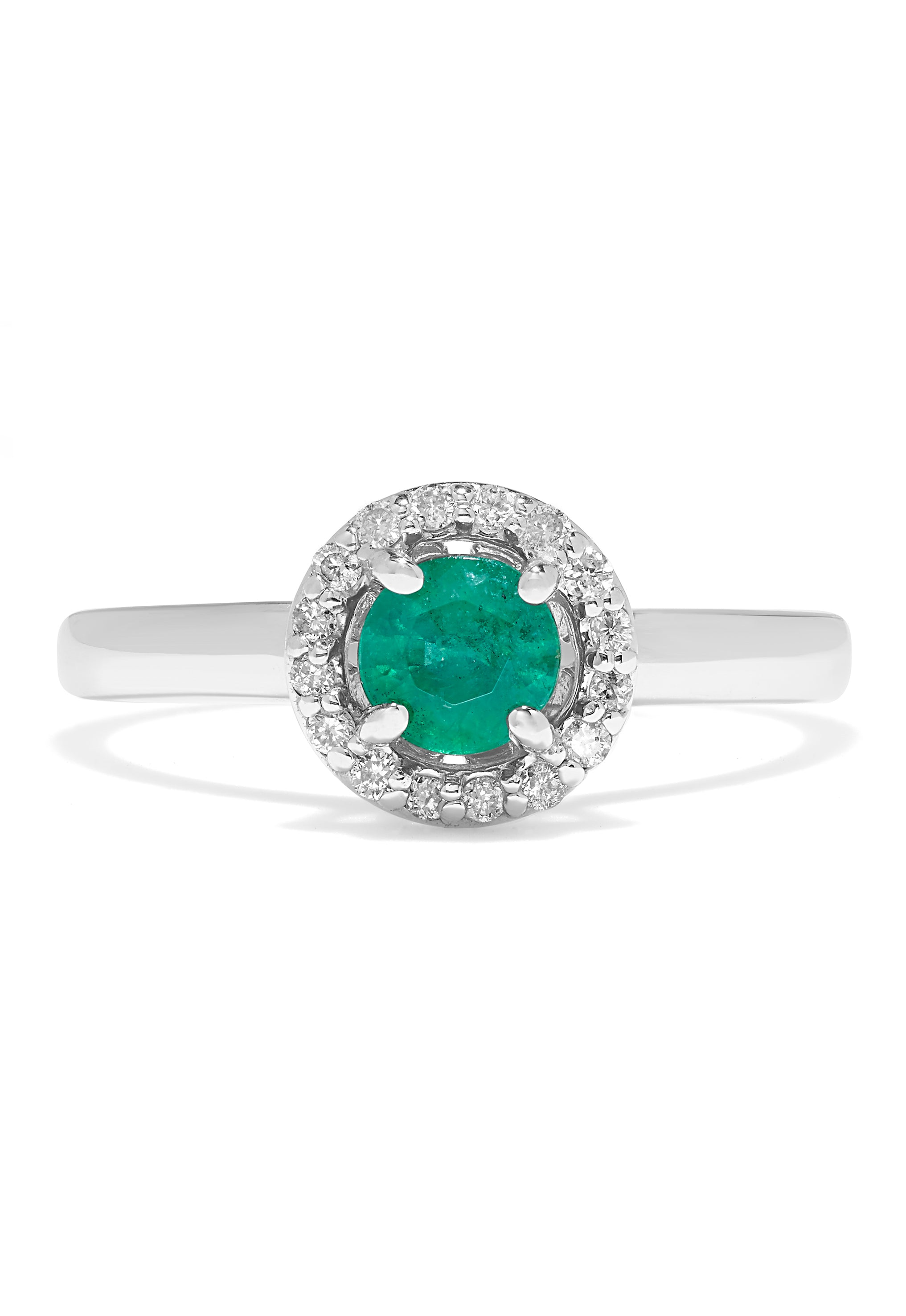 Effy Brasilica 14K White Gold Emerald and Diamond Halo Ring, 0.60 TCW