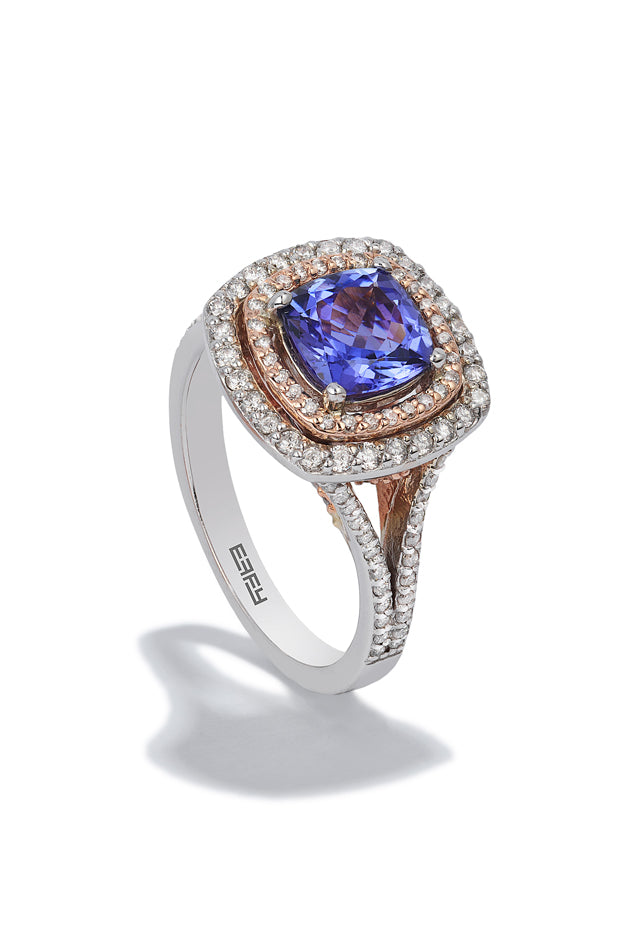 Effy Gemma 14K White and Rose Gold Tanzanite and Diamond Ring, 2.44 TCW