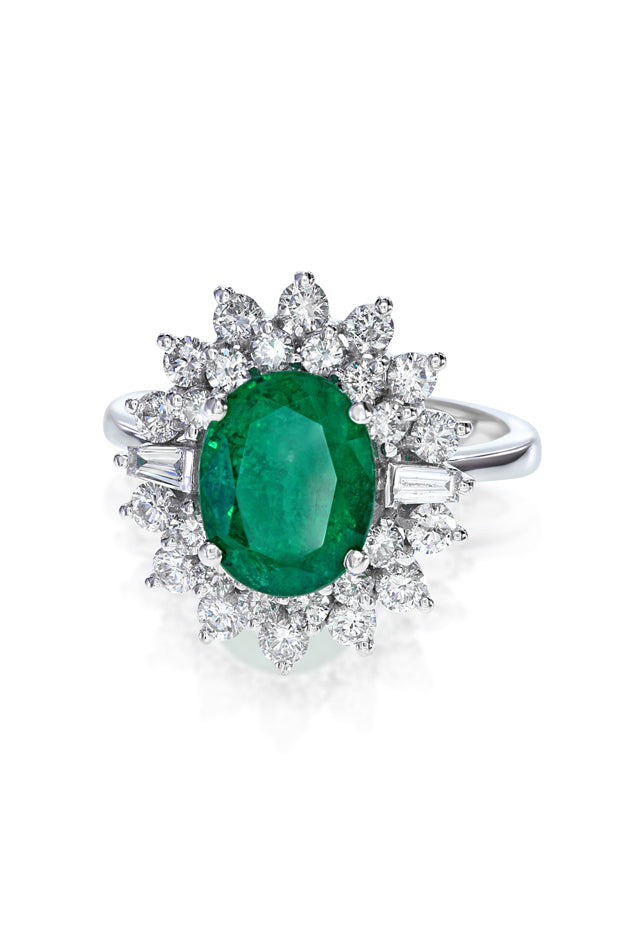 Effy Brasilica 14K White Gold Emerald and Diamond Ring, 3.33 TCW