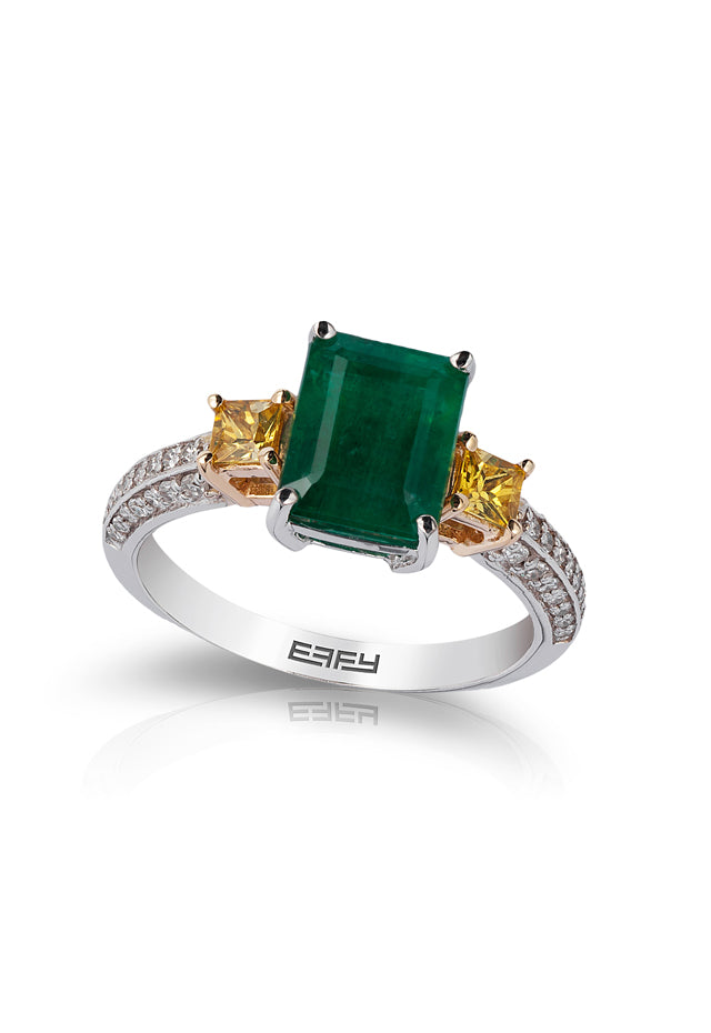 Gemma Emerald, Yellow Sapphire and Diamond Ring