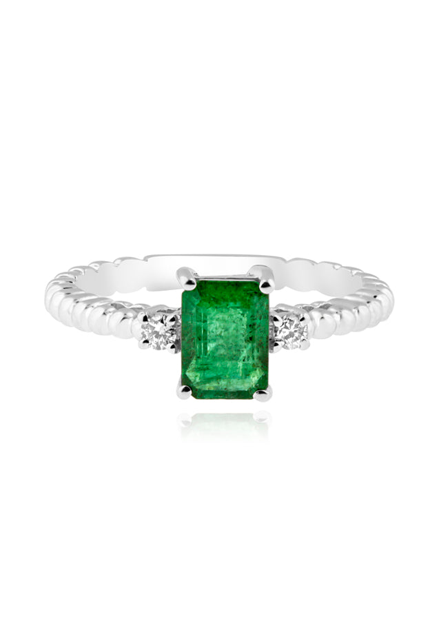 Effy Brasilica 14K White Gold Emerald and Diamond Ring, 1.03 TCW
