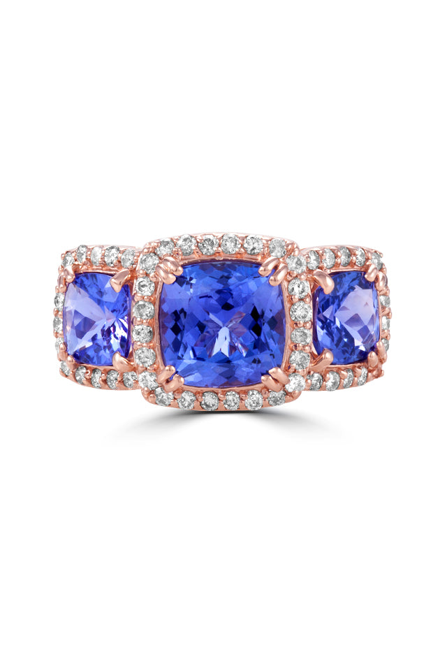Effy Gemma 14K Rose Gold Tanzanite and Diamond Ring, 4.69 TCW