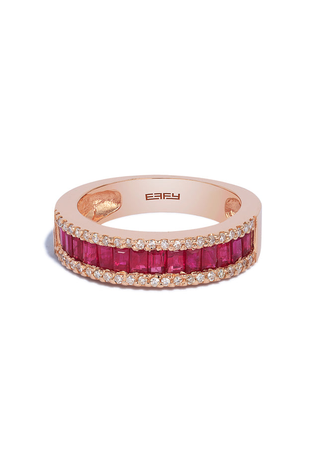 Effy Gemma 14K Rose Gold Ruby and Diamond Ring, 1.28 TCW