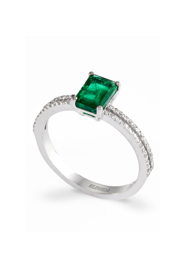 Effy Gemma 14K White Gold Emerald and Diamond Ring, 1.13 TCW