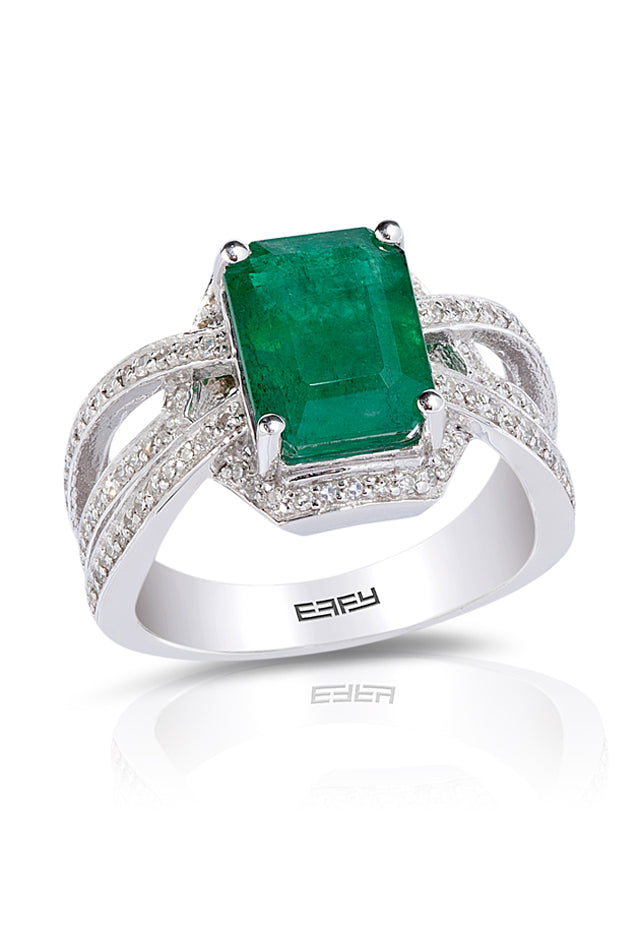 Gemma White Gold Emerald and Diamond Ring, 3.35 TCW