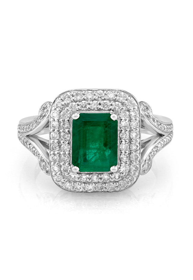 Effy Brasilica 14K White Gold Emerald and Diamond Ring, 2.37 TCW