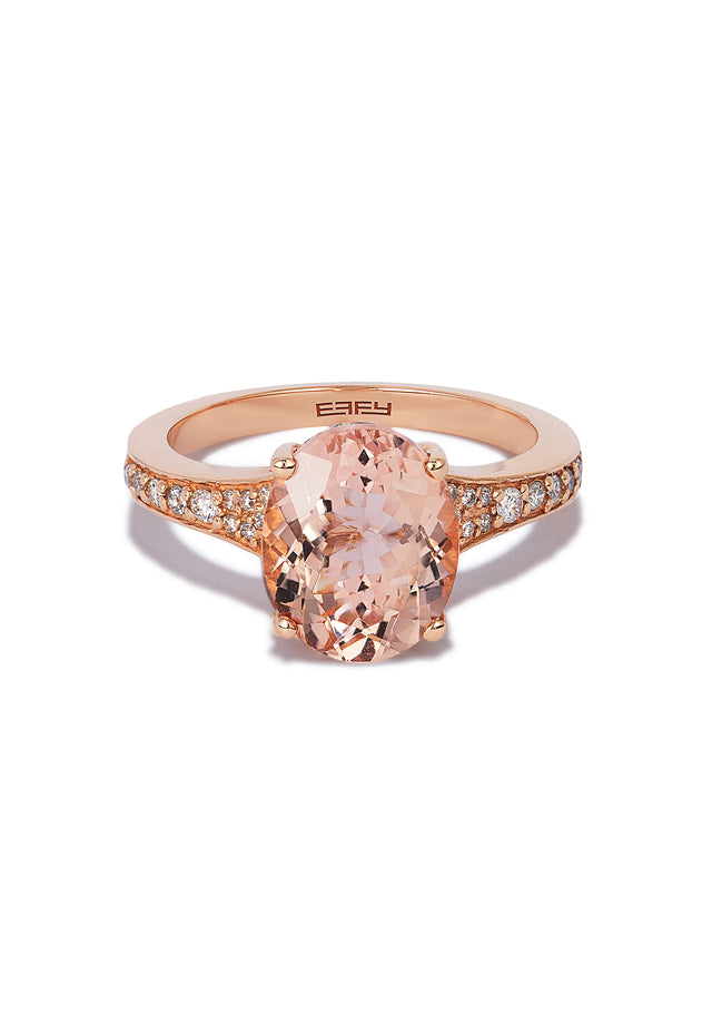 Effy Blush 14K Rose Gold Morganite and Diamond Ring, 3.40 TCW