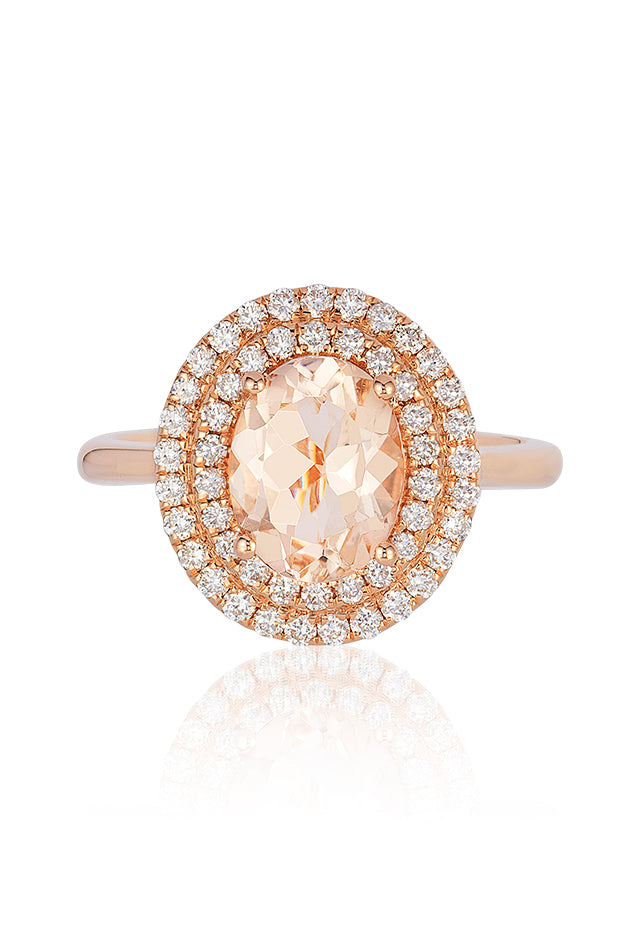 Effy Blush 14K Rose Gold Morganite and Diamond Ring, 2.14 TCW