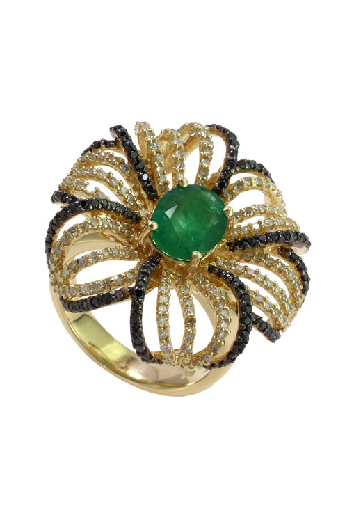14K Yellow Gold Emerald and Diamond Flower Ring, 2.86 TCW