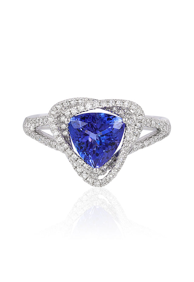 Effy Gemma 14K White Gold Trillion Tanzanite and Diamond Ring, 1.86 TCW