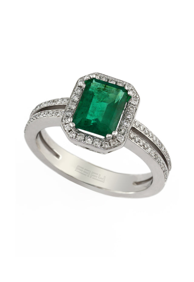 Effy Brasilica 14K White Gold Emerald and Diamond Ring, 1.70 TCW