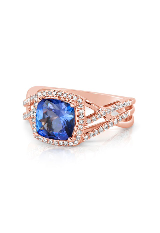 Effy Gemma 14K Rose Gold Tanzanite and Diamond Ring, 2.64 TCW