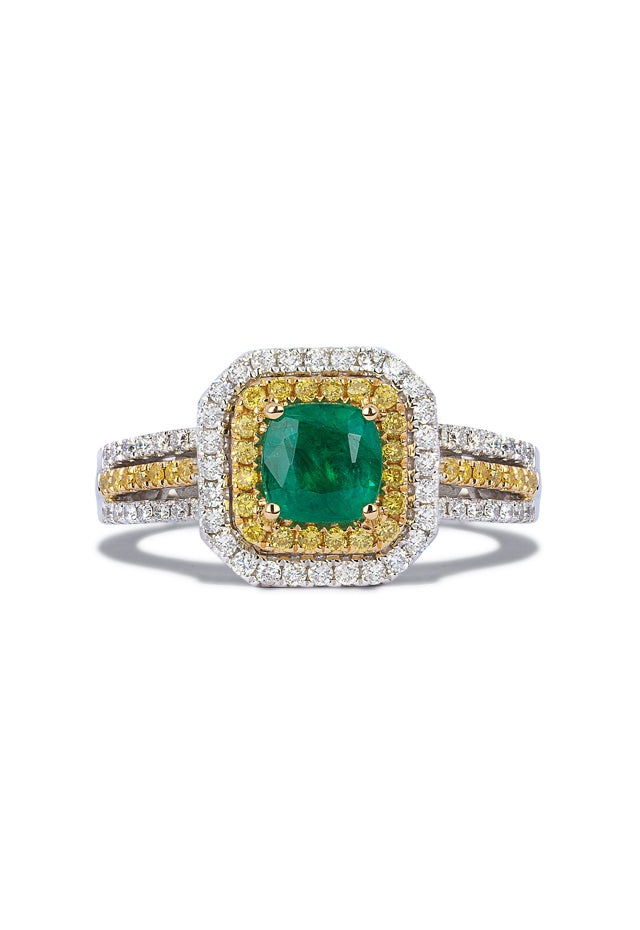 Effy 14K Tri-Color Gold Emerald, Yellow & White Diamond Ring, 1.48 TCW