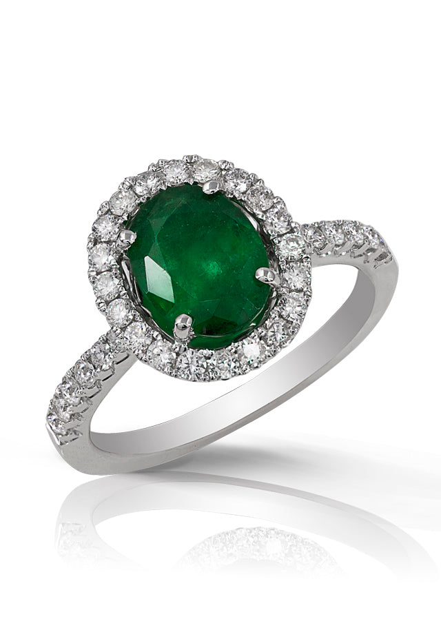 Gemma White Gold Emerald and Diamond Ring, 2.17 TCW
