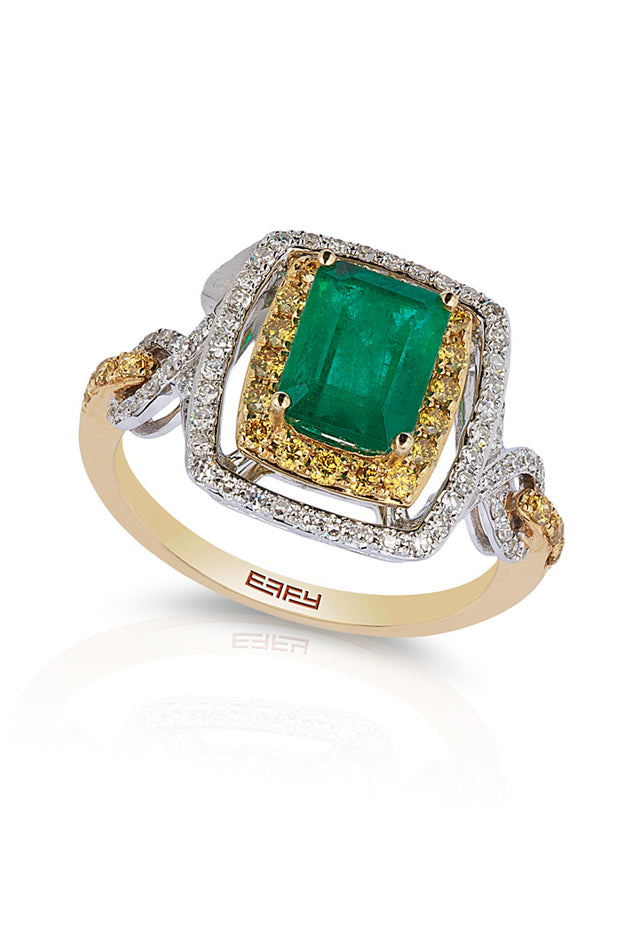 Gemma 2-Tone 14K Gold Emerald & Diamond Ring, 1.94 TCW