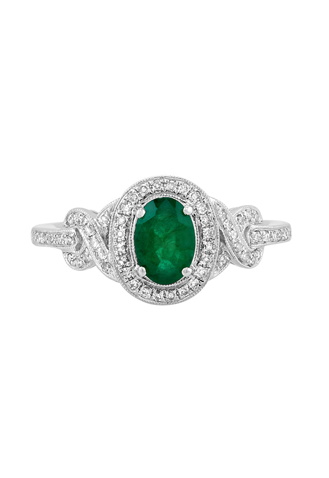 Effy Brasilica 14K White Gold Emerald and Diamond Ring, 1.00 TCW