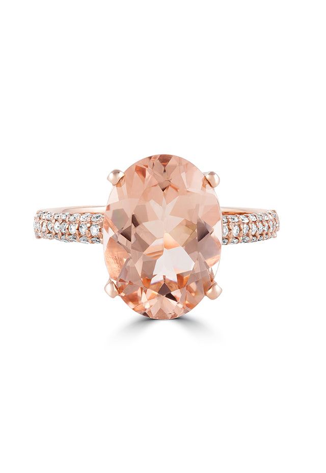 Effy Blush 14K Rose Gold Morganite and Diamond Ring, 5.09 TCW