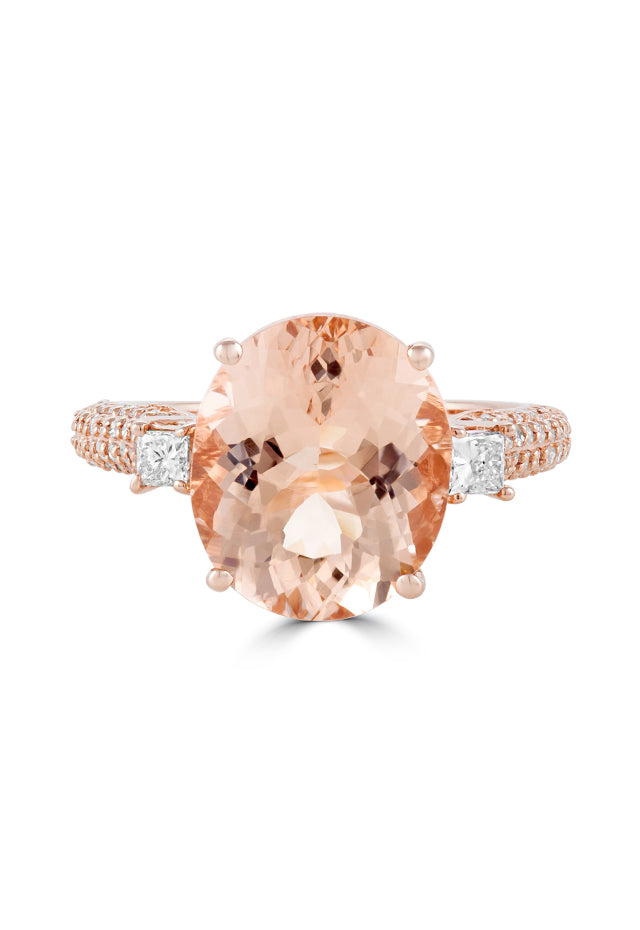 Effy Blush 14K Rose Gold Morganite and Diamond Ring, 5.99 TCW