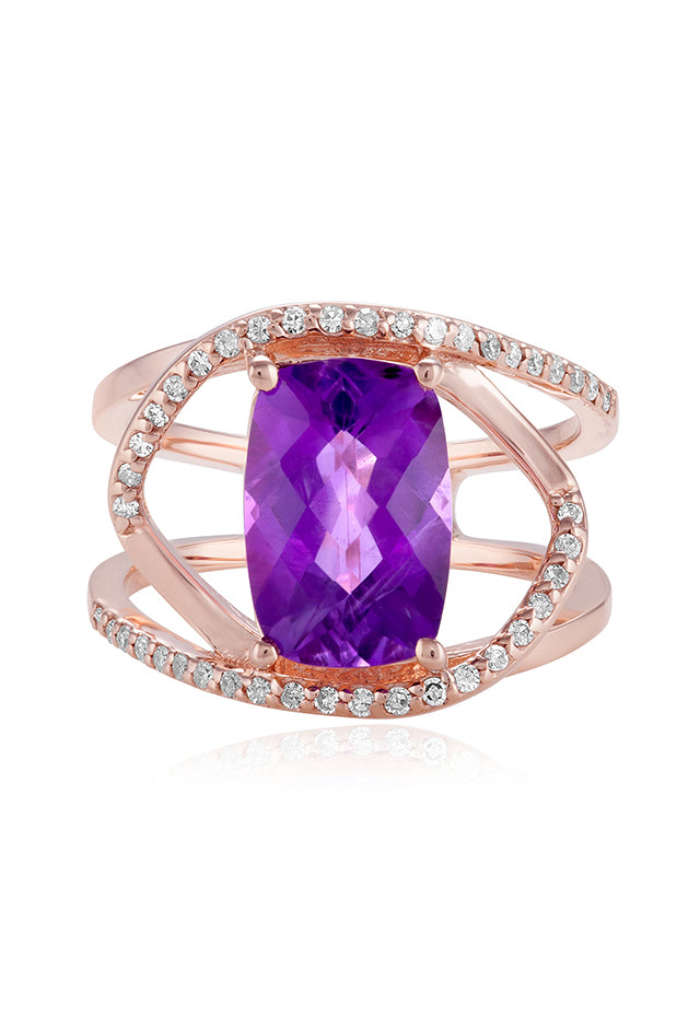 Effy 14K Rose Gold Amethyst and Diamond Ring, 4.21 TCW