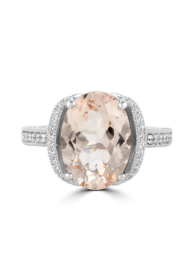 Effy Blush 14K White Gold Morganite and Diamond Ring, 5.40 TCW