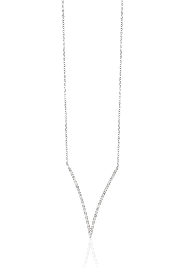 Effy Pave Classica 14K White Gold Diamond V-Shape Necklace, 0.28 TCW