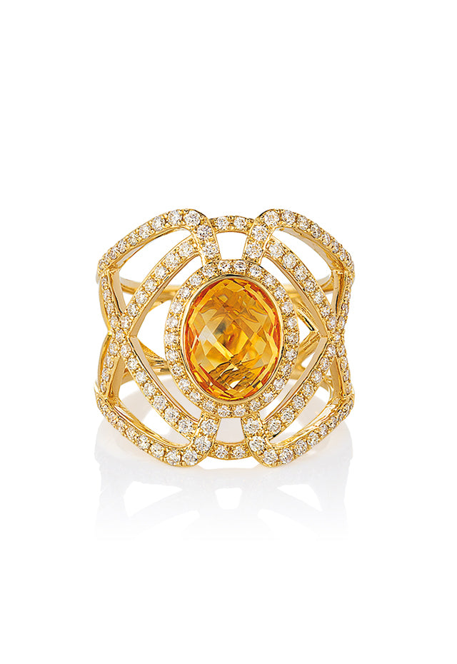 Effy Geo 14K Yellow Gold Oval Citrine and Diamond Ring, 2.96 TCW