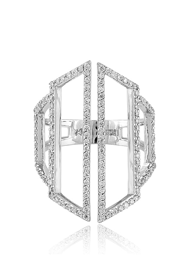 Effy Pave Classica 14K White Gold Diamond Negative Space Ring, 0.66 TCW