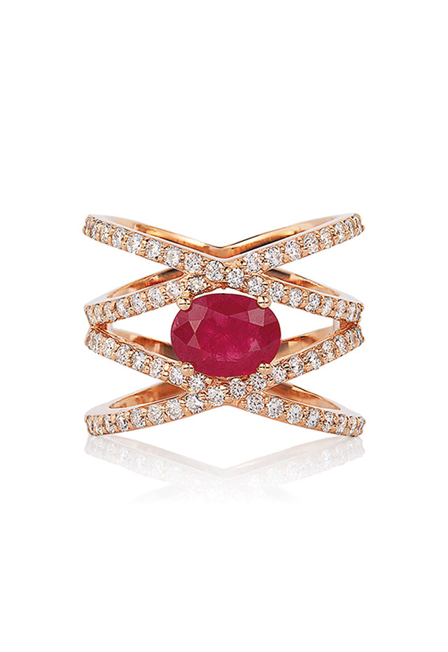 Effy Geo 14K Rose Gold Ruby and Diamond Negative Space Ring, 1.86 TCW