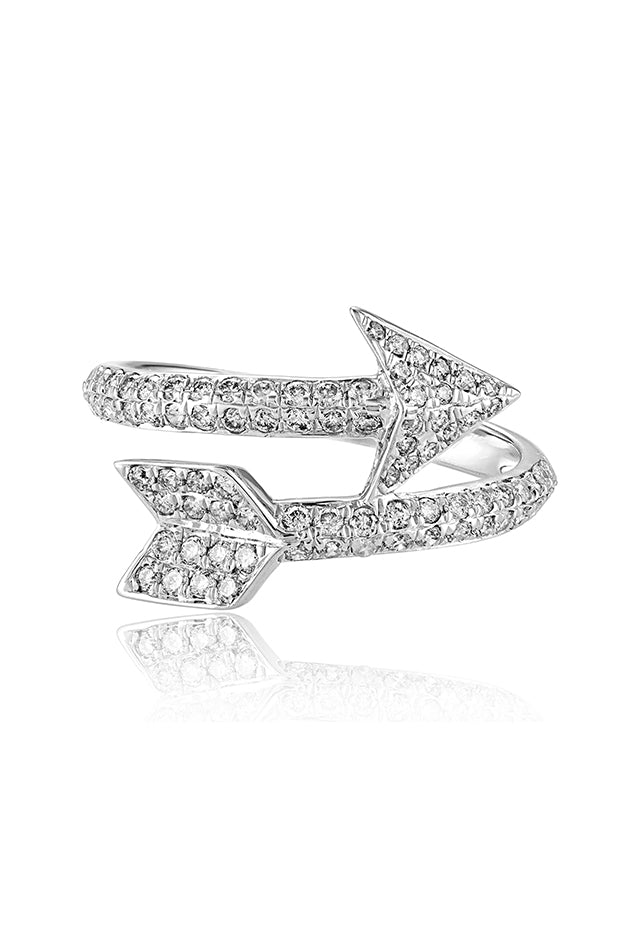 Effy Pave Classica 14K White Gold Diamond Arrow Ring, 0.55 TCW