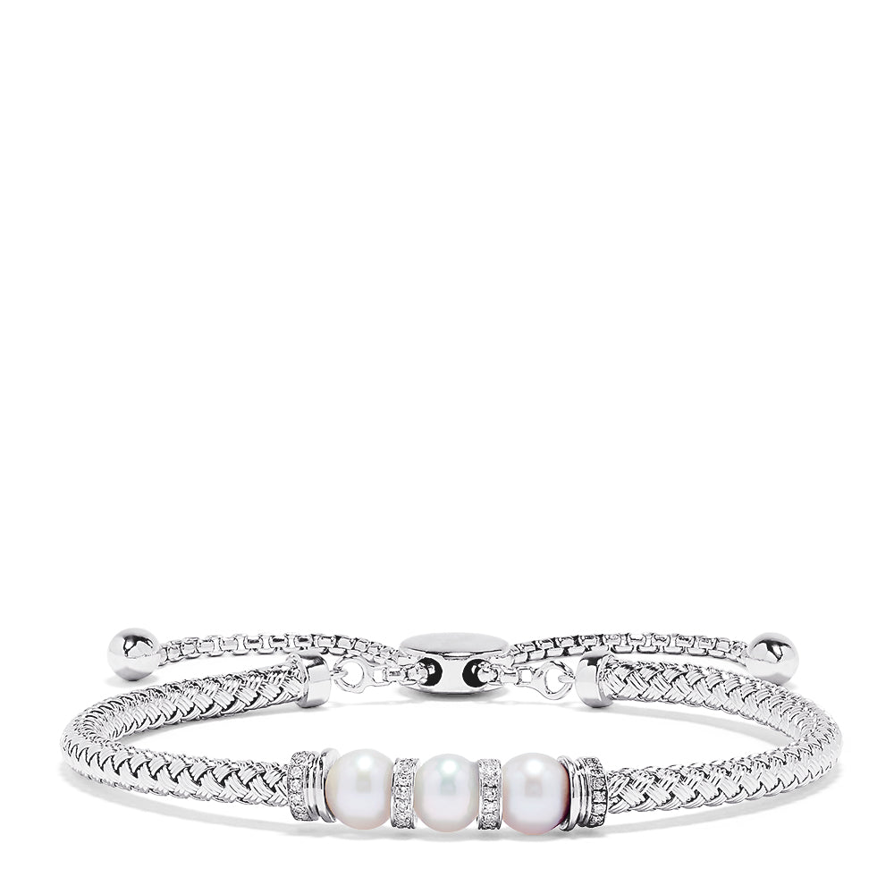 Effy 925 Sterling Silver Pearl with Diamond Accent Bracelet, 0.10 TCW
