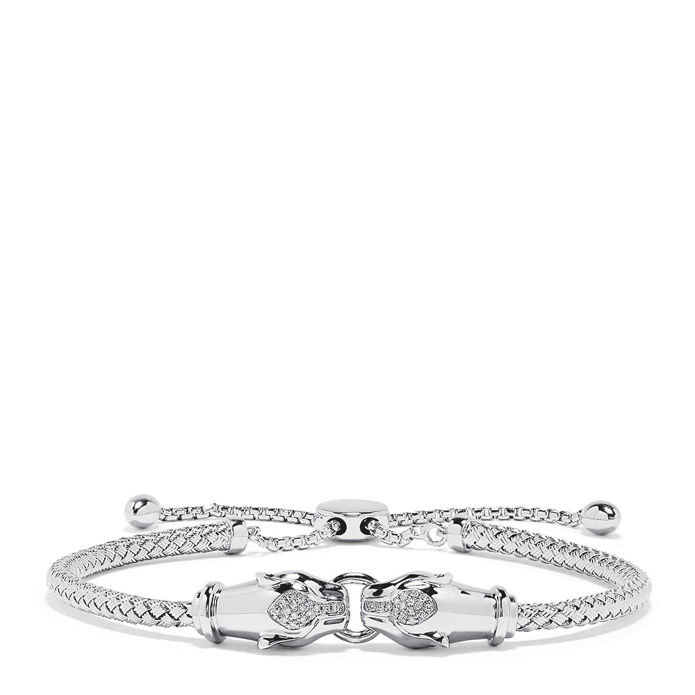 Effy 925 Sterling Silver Diamond Duo Panther Bracelet, 0.10 TCW