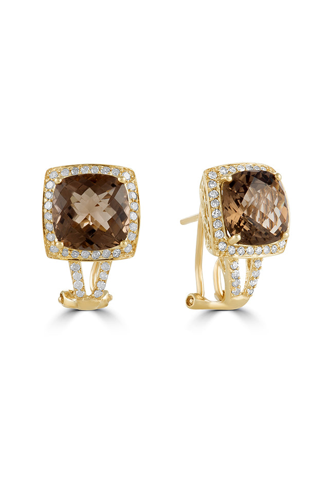Effy 14K Yellow Gold Smokey Quartz and Diamond Earrings, 6.05 TCW