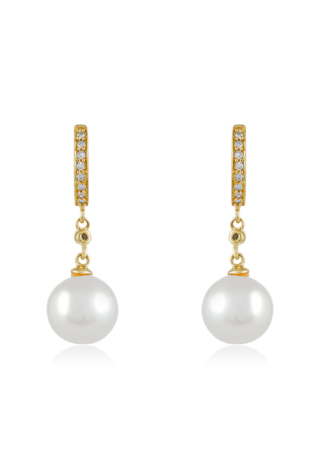 Effy 14K White Gold Cultured Fresh Water Pearl & Diamond Earrings, 0.09 TCW
