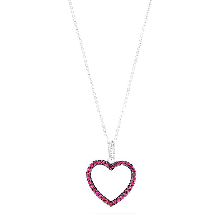 Effy 14K White Gold Ruby and Diamond Open Heart Pendant, 0.32 TCW