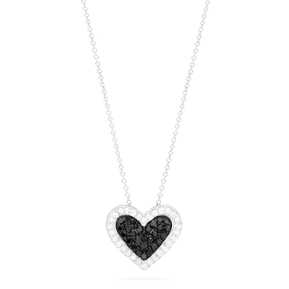 Effy 14K White Gold Black and White Diamond Heart Pendant, 0.67 TCW