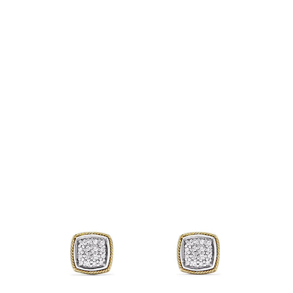 Effy 925 Sterling Silver & 18K Yellow Gold Diamond Square Studs, 0.14 TCW