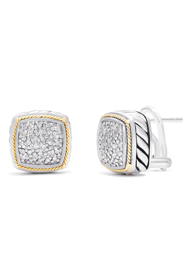 Effy 925 Sterling Silver & 18K Gold Accented Diamond Earrings, 0.22 TCW