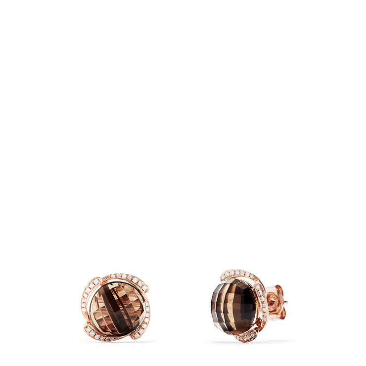 Effy 14K Rose Gold Smokey Quartz and Diamond Stud Earrings, 8.96 TCW