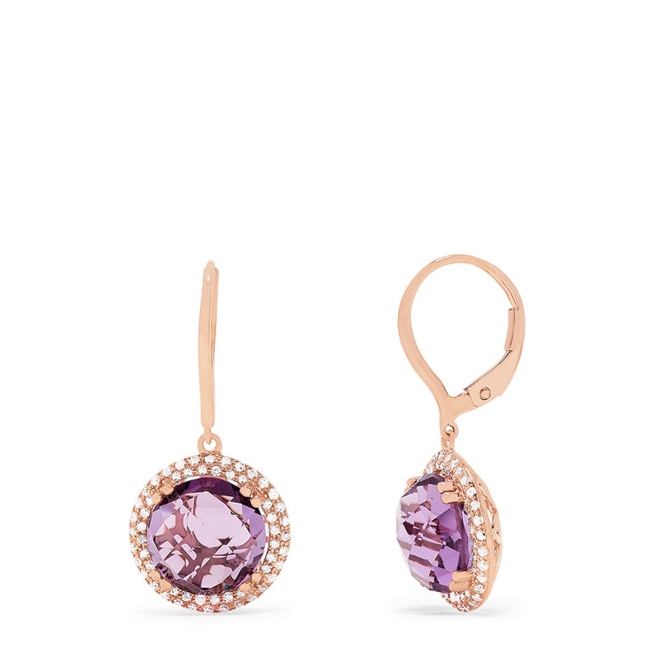 Effy 14K Rose Gold Amethyst and Diamond Drop Earrings, 9.47 TCW