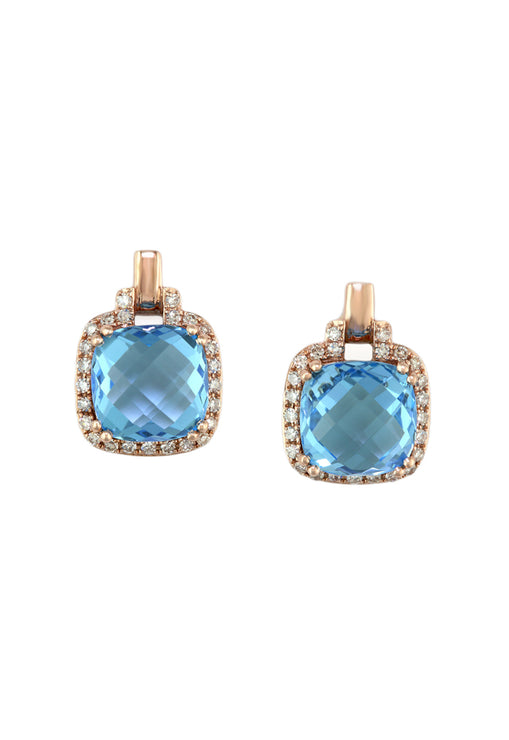 14K Rose Gold Blue Topaz and Diamond Earrings, 4.07 TCW