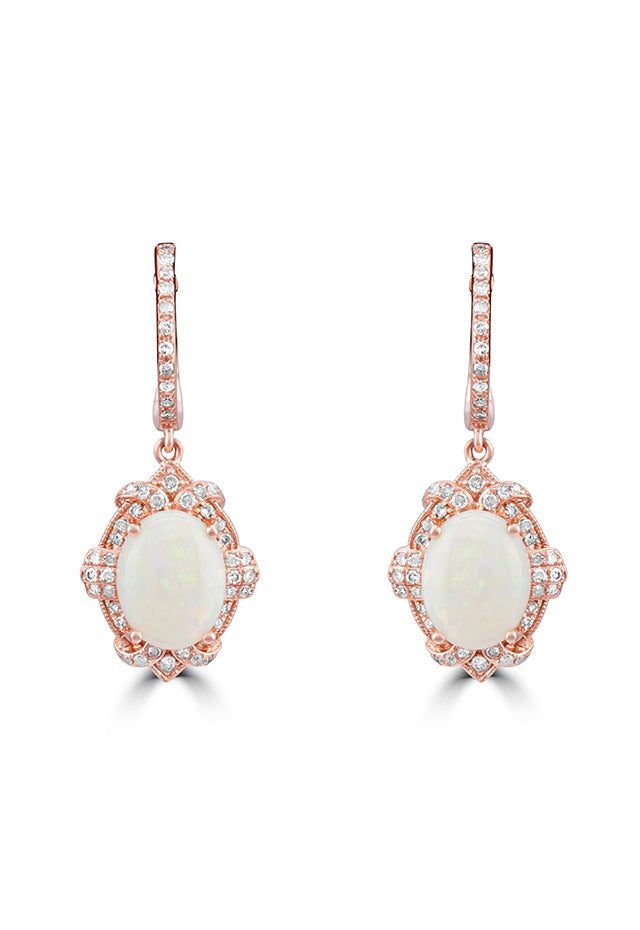 Effy Aurora 14K Rose Gold Opal and Diamond Earrings, 2.26 TCW