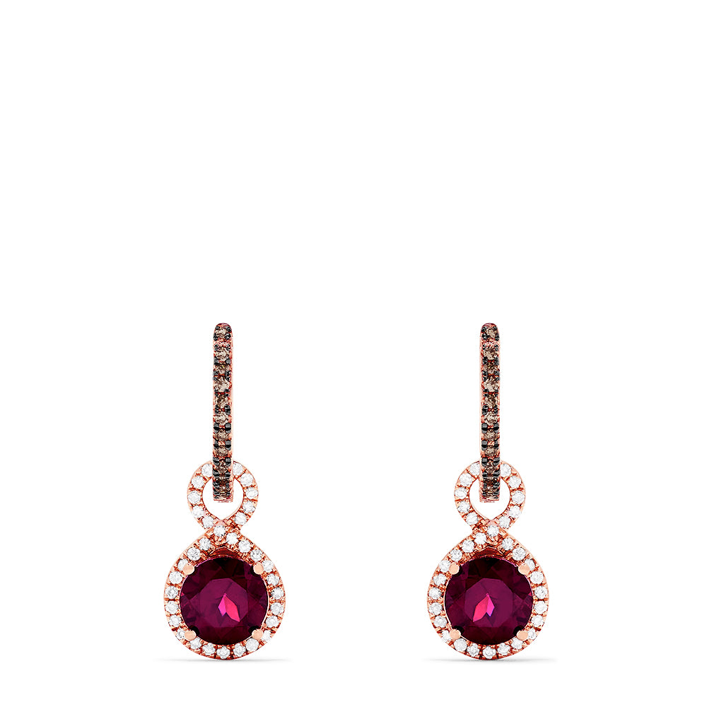 Effy 14K Rose Gold Rhodolite Garnet and Diamond Drop Earrings, 2.49 TCW