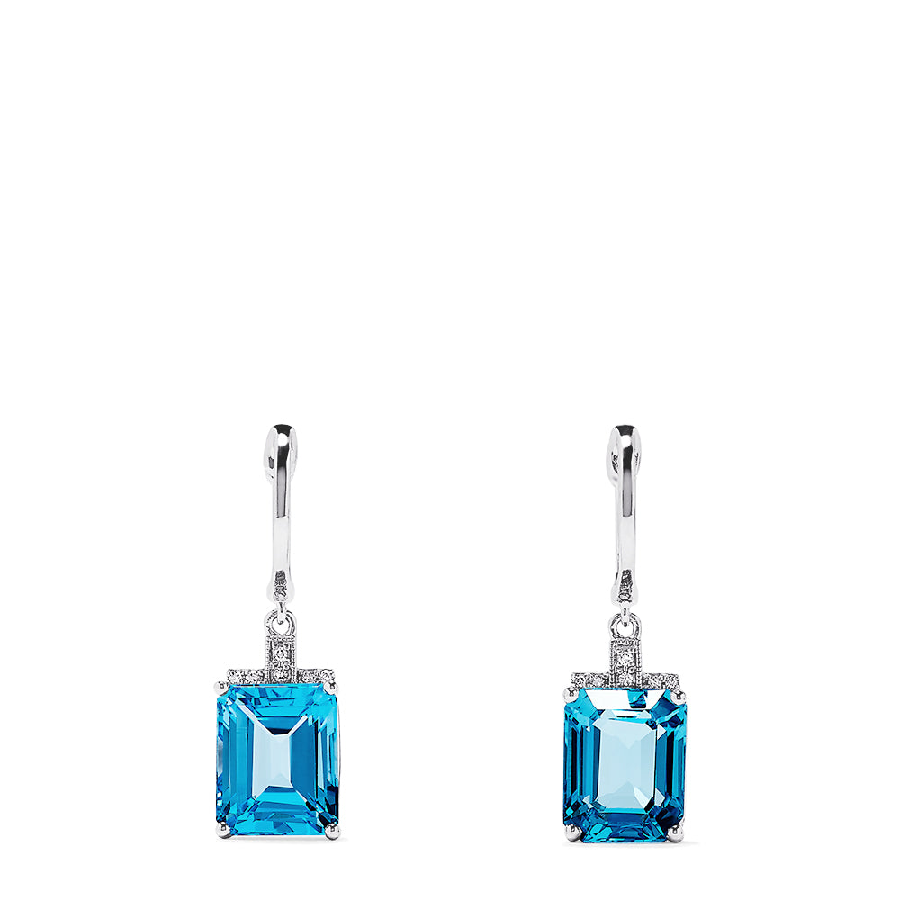 Effy 14K White Gold Topaz and Diamond Earrings, 9.25 TCW
