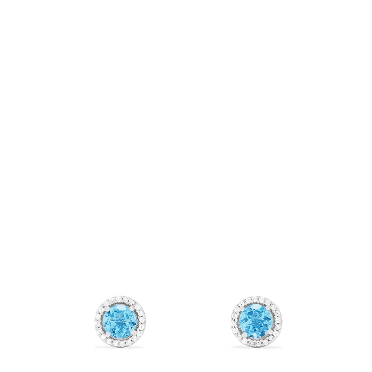 Effy 14K White Gold Blue Topaz and Diamond Stud Earrings, 2.20 TCW